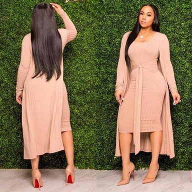 Agracei Trends Pink / XL / China Autumn Knitted Sweater Bodycon Sleeveless Dress Long Cardigans Coat 2 Piece Set Ribbed Dress Belt Vintage Vestidos