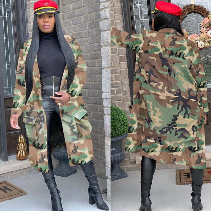 Agracei Trends Plus Size Camouflage Camo Jacket Coat Women 2020 Oversized Cardigan Pockets Military Streetwear Casual Outerwear Chaqueta Mujer