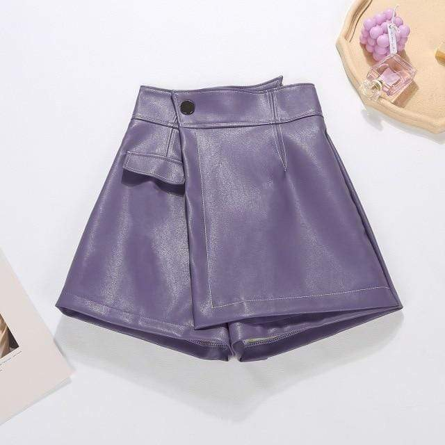 Agracei Trends purple / XL 2020 New PU Leather Shorts Women Shorts All-match Sashes Wide Leg Short Ladies Sexy Leather Shorts Autumn Winter
