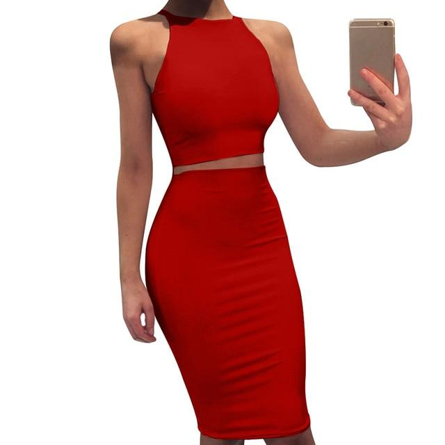 Agracei Trends Red / L 2020 Sexy Summer Two Piece set dress Crop Tops sheath set Mini bandage Dress Sleeveless party Vestidos robe femme ete