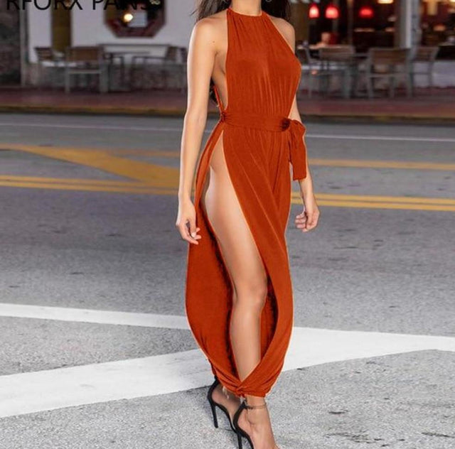 Agracei Trends Red / L Solid Sleeveless Ruched Slit Jumpsuit Sexy Jumpsuit
