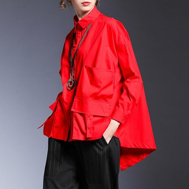 Agracei Trends red / M [EAM] Women Pocket Spliced Oversize Irregular Blouse New Lapel Long Sleeve Loose Fit Shirt Fashion Tide Spring Autumn 2020 1B236
