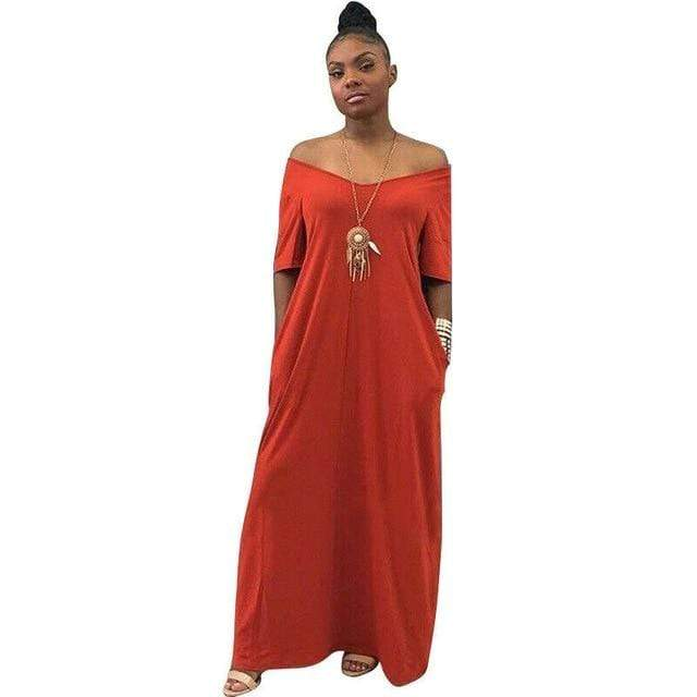 Agracei Trends Red / S Women's Long Maxi Dress Off Shoulder Bodycon Dress Ladies Autumn Casual Dress Party Dress Warm Cotton Winter Dress Oversize hot