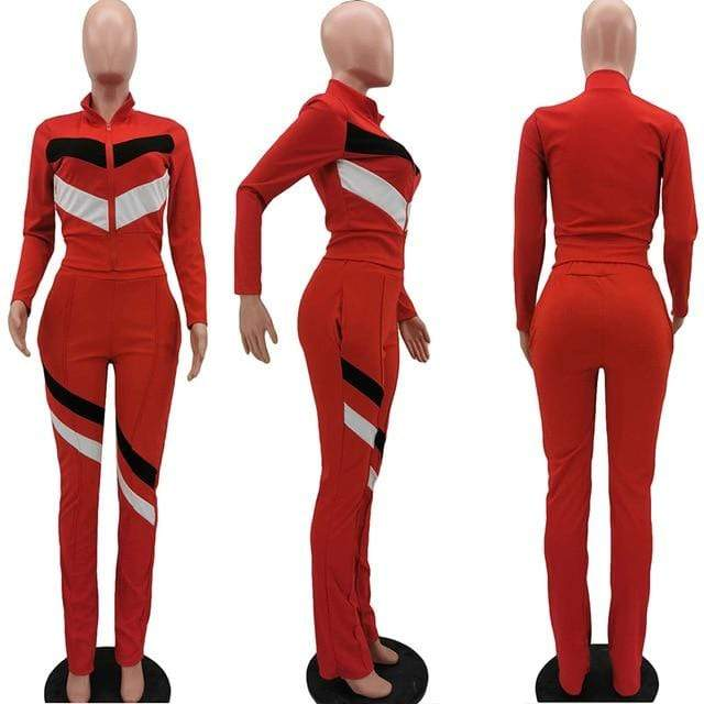 Agracei Trends Red / XL HAOYUAN Striped Two Piece Set Jumpsuit Long Sleeve Zipper Top+Stacked Leggings Set Casual Tracksuit Fall Women Clothing  Outfits