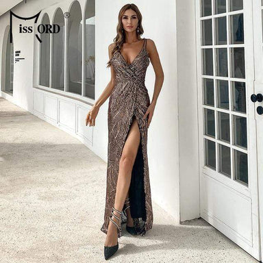 Agracei Trends Rose gpld / S Women Sexy V neck Sequin Spaghetti Strap Dress Backless High Split Maxi Dress Summer Evening Party Dress
