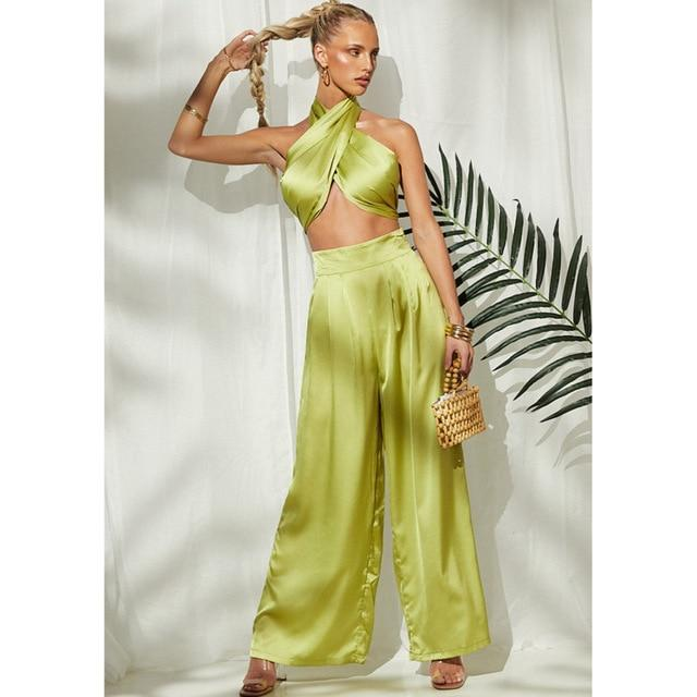 Agracei Trends S / green Kesiachiccly Sexy Bodycon Rompers Womens Jumpsuit Workout Active Wear Sleeveless 2021 Summer Satin Jumpsuits Skinny Fashion