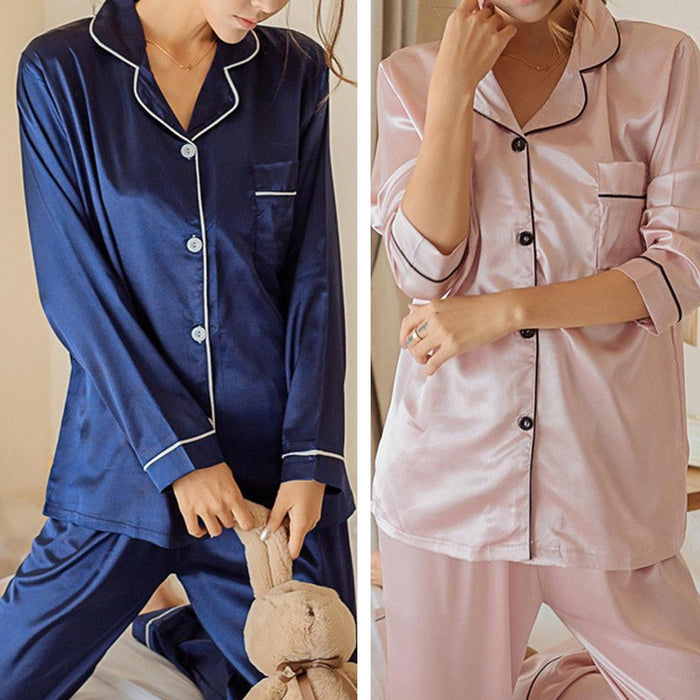 Agracei Trends Silk Satin Pajamas Set Pyjama Sleepwear Nightwear Loungewear Homewear Solid Color Comfortable Soft High Quality