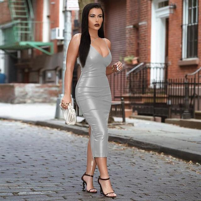 Agracei Trends Silver / M Pu Faux Leather Women Slit Midi Dress Strap V Neck Backless Bodycon Sexy Streetwear Party Elegant Autumn Winter Club