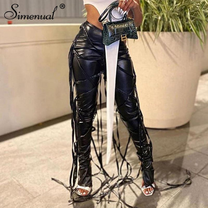 Agracei Trends Simenual Midnight Faux PU Leather Skinny Pants Ribbon Criss Cross Women High Waist Pencil Trousers Fashion Fall 2020 Clothing