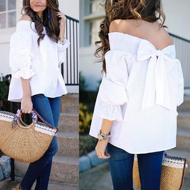 Agracei Trends Spring Summer off the shoulder Women Blouse Bow knot Slash Neck Shirts Casual Loose  Slash neck