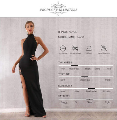 Agracei Trends Summer Black Bandage Dress Sexy Sleeveless Halter Hollow Out Maxi Club Dress Celebrity Runway Party Dress