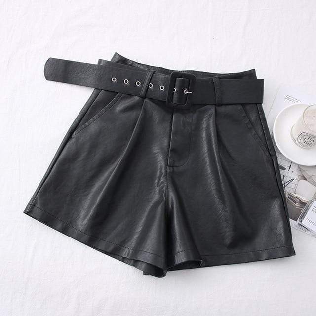 Agracei Trends TBPU001B / S 2020 New PU Leather Shorts Women Shorts All-match Sashes Wide Leg Short Ladies Sexy Leather Shorts Autumn Winter