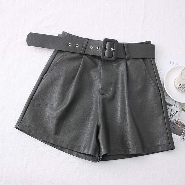Agracei Trends TBPU001G / XL 2020 New PU Leather Shorts Women Shorts All-match Sashes Wide Leg Short Ladies Sexy Leather Shorts Autumn Winter