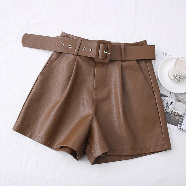 Agracei Trends TBPU001O / S 2020 New PU Leather Shorts Women Shorts All-match Sashes Wide Leg Short Ladies Sexy Leather Shorts Autumn Winter