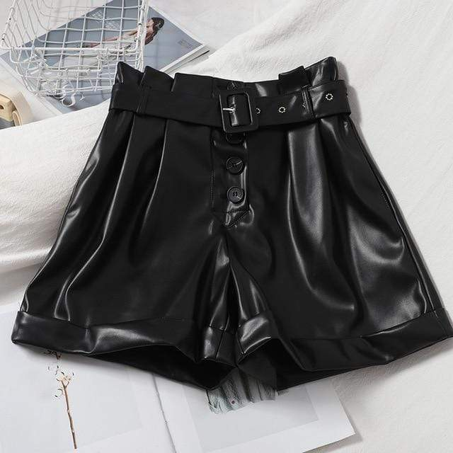 Agracei Trends TBPUGU020D1 / L 2020 New PU Leather Shorts Women Shorts All-match Sashes Wide Leg Short Ladies Sexy Leather Shorts Autumn Winter