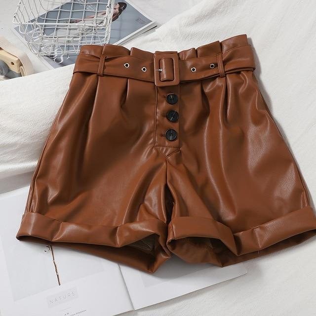 Agracei Trends TBPUGU020O1 / L 2020 New PU Leather Shorts Women Shorts All-match Sashes Wide Leg Short Ladies Sexy Leather Shorts Autumn Winter