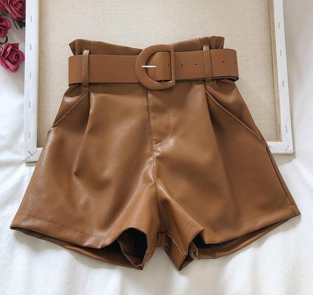 Agracei Trends TBPUNM010C / XL 2020 New PU Leather Shorts Women Shorts All-match Sashes Wide Leg Short Ladies Sexy Leather Shorts Autumn Winter