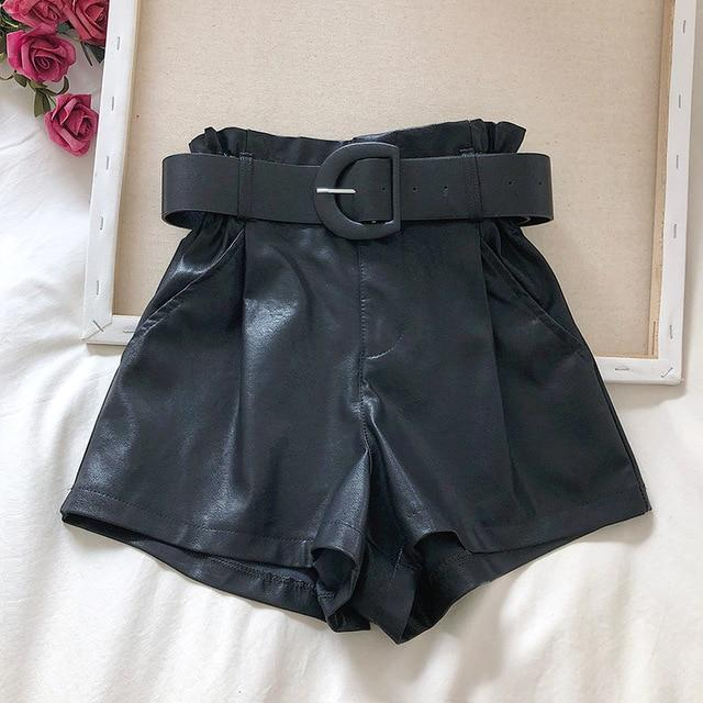 Agracei Trends TBPUNM010D / S 2020 New PU Leather Shorts Women Shorts All-match Sashes Wide Leg Short Ladies Sexy Leather Shorts Autumn Winter