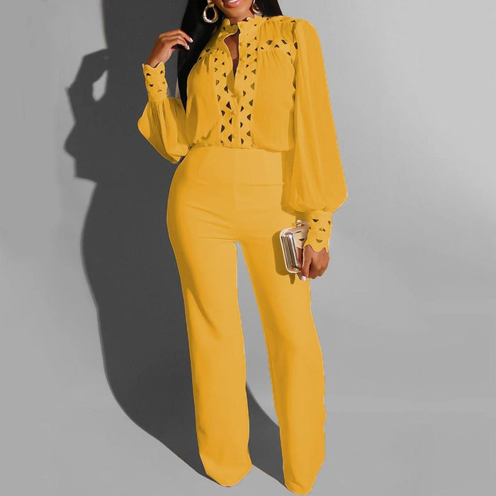 Agracei Trends Two Piece Sets Fall Autumn Office Ladies Sheer Long Sleeve Shirt Top And Pants Elegant White Yellow 2 Pc Matching Outfits Women