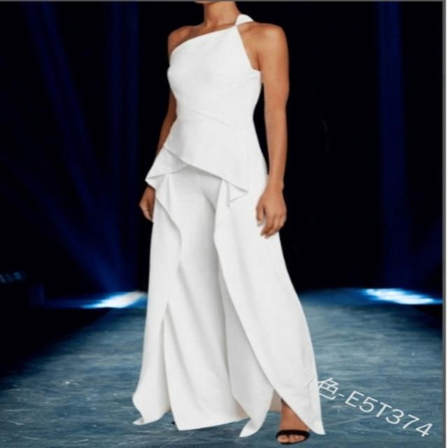 Agracei Trends White / 5XL Elegant Sleeveless One Shoulder Ruffles Long Dress Women Summer Fashion Irregular Dress Plus Size S-5XL