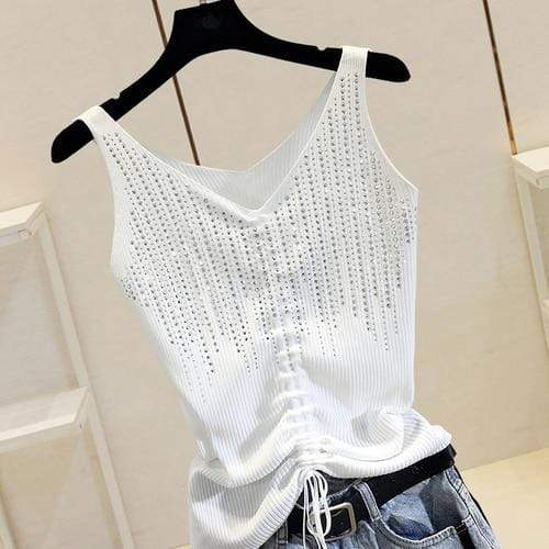 Agracei Trends white Drawstring / One Size Summer New Fashion Camisole Tanks T Shirts Women Heavy-duty Ironing and Drilling Knitting Tops