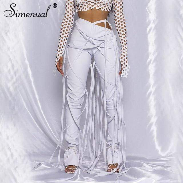 Agracei Trends white / L Simenual Midnight Faux PU Leather Skinny Pants Ribbon Criss Cross Women High Waist Pencil Trousers Fashion Fall 2020 Clothing