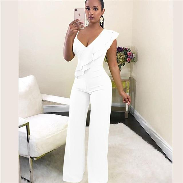Agracei Trends White / L Summer Off shoulder women jumpsuit Elegant stylish jumpsuit Layered ruffles high waist jumpsuits Female overalls streetwear