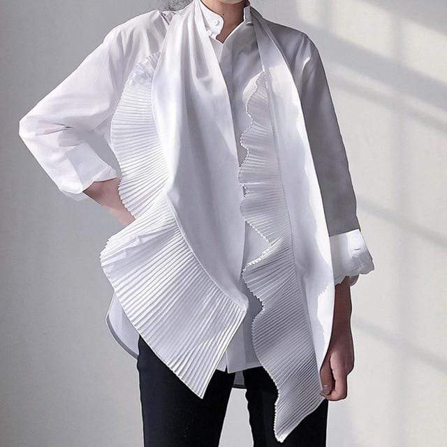 Agracei Trends white / L women clothing bow collar ruffles pleated single breasted shirt female blouse
