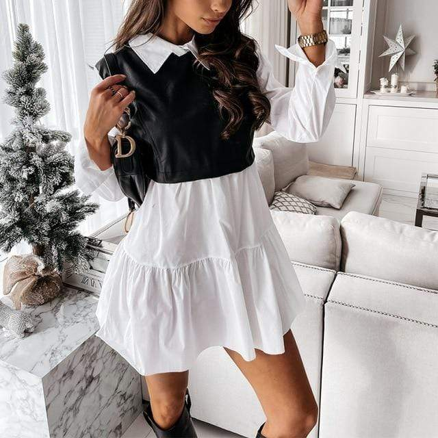 Agracei Trends White / L Women Faux Leather Patchwork White Shirt Dress 2021 Spring Casual Long Sleeve Plaid Chic Dress Lady Mini A Line Office Vestidos