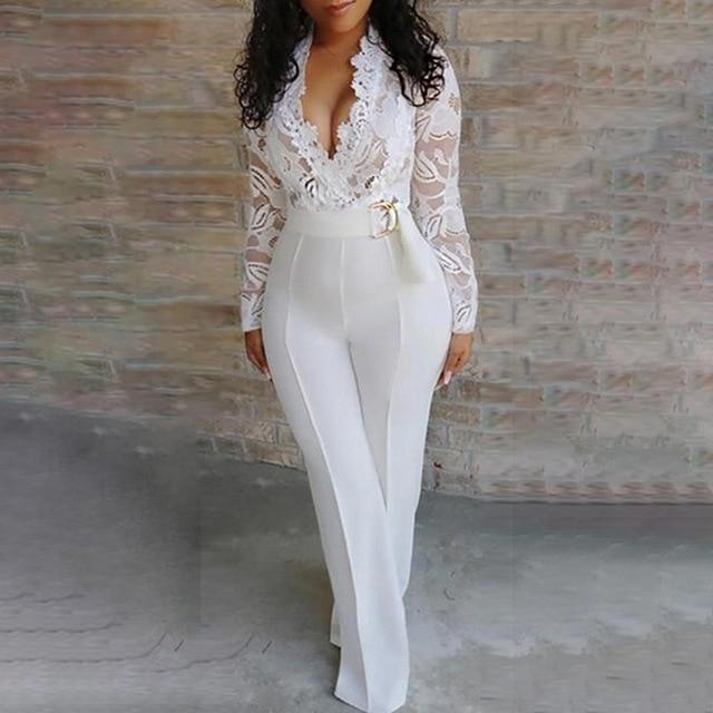 Agracei Trends white / M Elegant Lace Rompers Womens Summer Jumpsuit Solid Color Sexy Ladies Casual Long Trousers Overalls White Jumpsuit Office Lady