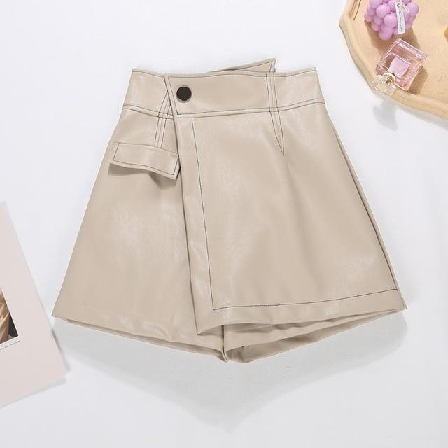 Agracei Trends white / S 2020 New PU Leather Shorts Women Shorts All-match Sashes Wide Leg Short Ladies Sexy Leather Shorts Autumn Winter