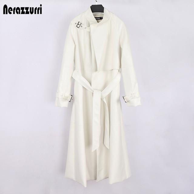 Agracei Trends White / S black long faux leather trench coat for women belt Raglan sleeve spring autumn coat women plus size loose overcoat