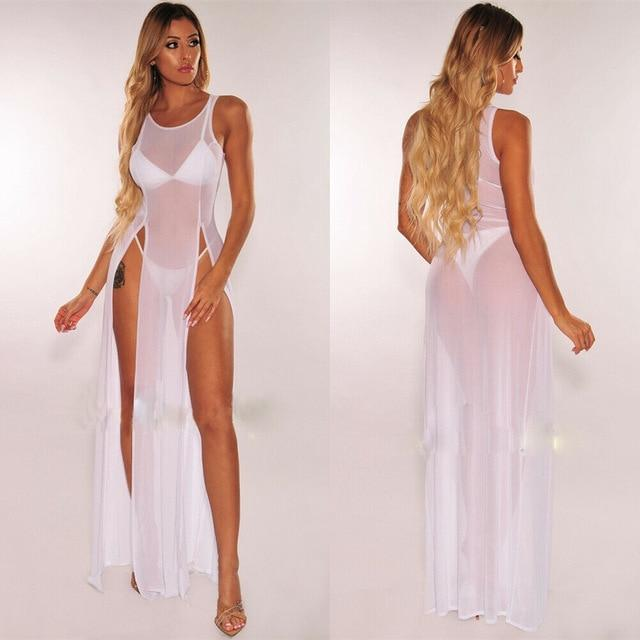 Agracei Trends White / S Women's Bikini Swimsuit Cover up Silk Summer Beach Wear Mesh Sheer Long Dress Summer Bathing Suit Holiday Hot One Piece