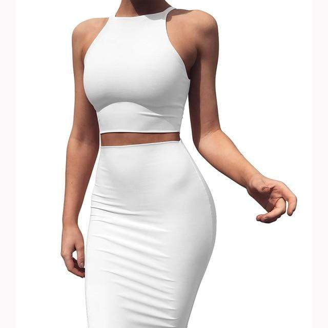 Agracei Trends White / XL 2020 Sexy Summer Two Piece set dress Crop Tops sheath set Mini bandage Dress Sleeveless party Vestidos robe femme ete