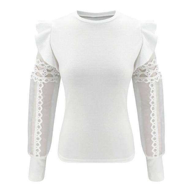 Agracei Trends White / XL Zapalisa Knit Spring Elegant Women Tops Solid Color Female Blouses Long Sleeve Ruffles Sexy Hollow Out Lace Spliced