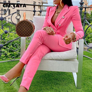 Agracei Trends Winter Streetwear Women's Set Long Sleeve Blazer Pants Suit Office Lady  Two Piece Set