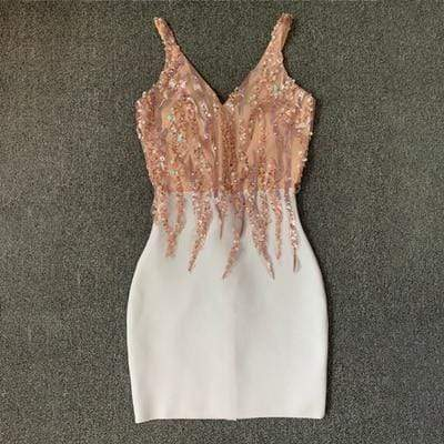 Agracei Trends without feathers / M / 176 High Quality Celebrity Party Bandage Dress Sexy V Neck Sleeves Sequins Dress Luxury Feathers Party Dress Pink White Mini Dress