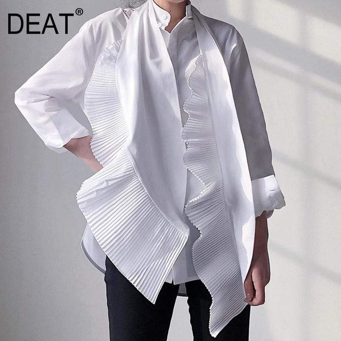 Agracei Trends women clothing bow collar ruffles pleated single breasted shirt female blouse