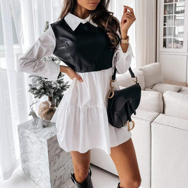 Agracei Trends Women Faux Leather Patchwork White Shirt Dress 2021 Spring Casual Long Sleeve Plaid Chic Dress Lady Mini A Line Office Vestidos