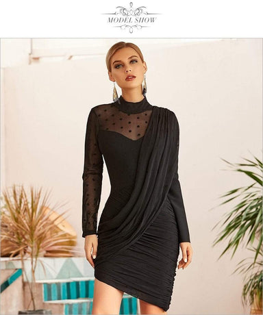 Agracei Trends Women Lace Long Sleeve Bodycon Bandage Dress Sexy Black Draped Midi Celebrity Runway Party Dress
