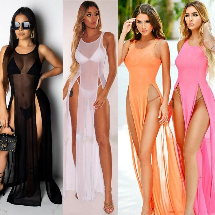 Agracei Trends Women's Bikini Swimsuit Cover up Silk Summer Beach Wear Mesh Sheer Long Dress Summer Bathing Suit Holiday Hot One Piece