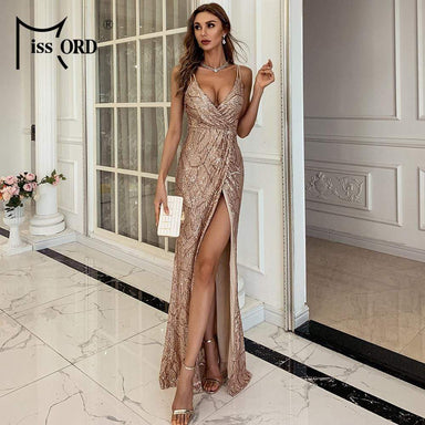 Agracei Trends Women Sexy V neck Sequin Spaghetti Strap Dress Backless High Split Maxi Dress Summer Evening Party Dress