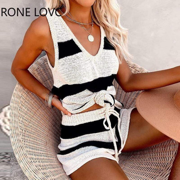 Agracei Trends Women V-Neck Knitted Colorblock Top & Drawstring Shorts Set  Casual 2 Pieces Set