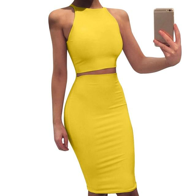 Agracei Trends Yellow / L 2020 Sexy Summer Two Piece set dress Crop Tops sheath set Mini bandage Dress Sleeveless party Vestidos robe femme ete