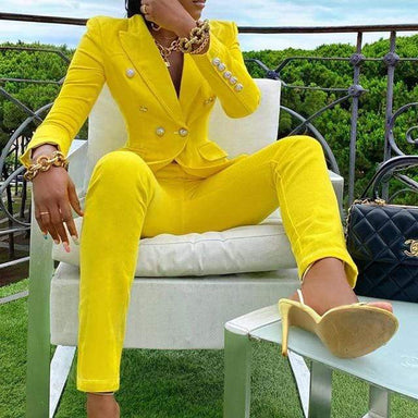 Agracei Trends Yellow / L Winter Streetwear Women's Set Long Sleeve Blazer Pants Suit Office Lady  Two Piece Set