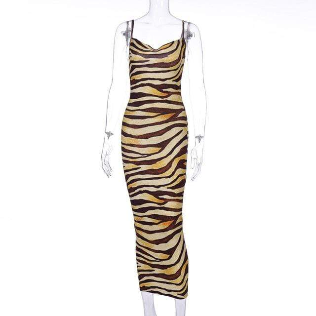 Agracei Trends YELLOW / S Multicolor Zebra Skin Print Summer Sexy Women Cami Long Dress Spaghetti Strap Sleeveless Party Slim Bodycon Dresses