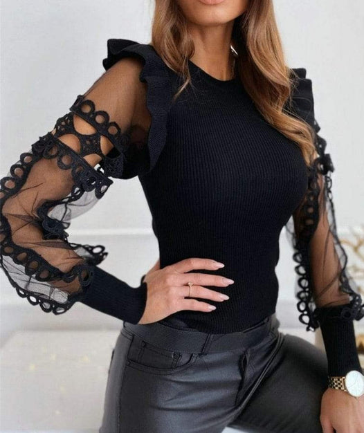 Agracei Trends Zapalisa Knit Spring Elegant Women Tops Solid Color Female Blouses Long Sleeve Ruffles Sexy Hollow Out Lace Spliced
