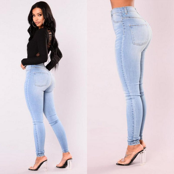 Cjdropshipping Jeans Pack hip pencil jeans blue large size