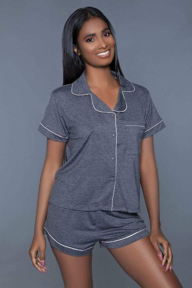 Indigo Zeus Sleepwear Soft Grey Jersey Women's Pajama Set