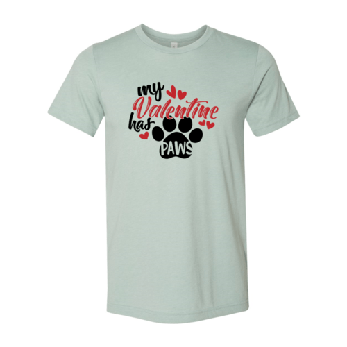 Red Alcestis T-shirts 2XL / Heather Dusty Blue My Valentine Has Paws Shirt